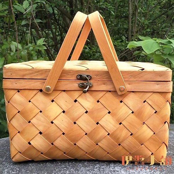 純手工編織木皮野餐籃子禮品盒竹籃包裝水果特產禮盒【倪醬小舖】