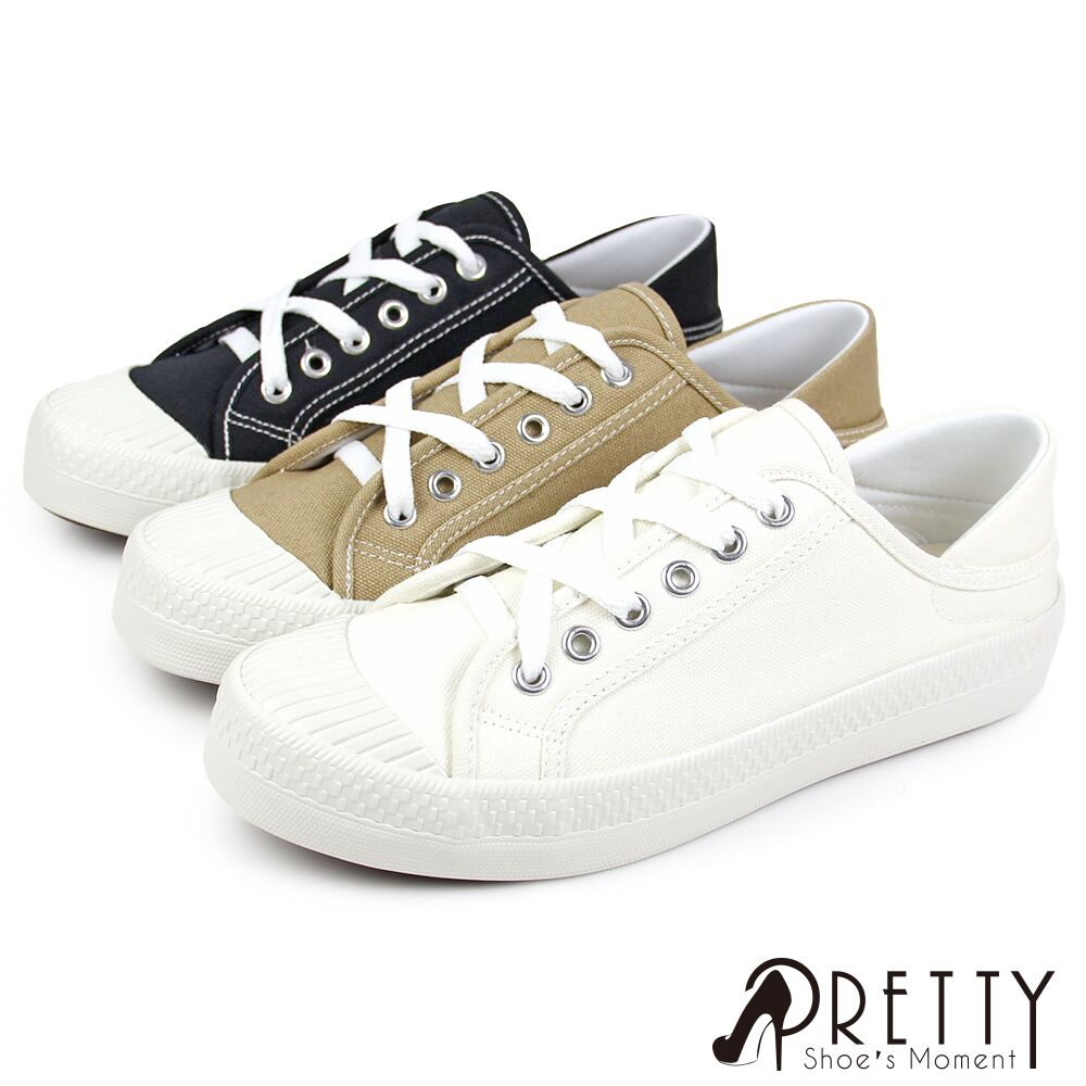 【Pretty】百搭簡約餅乾頭綁帶兩穿式平底休閒鞋N-29002