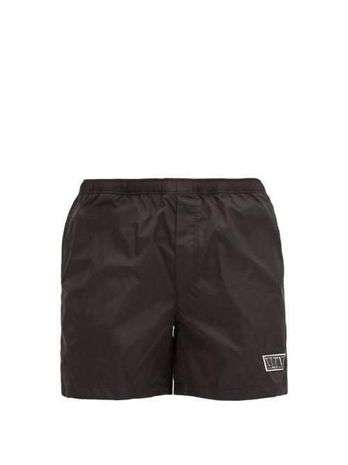 Valentino - Vltn-patch Shell Swim Shorts - Mens - Black