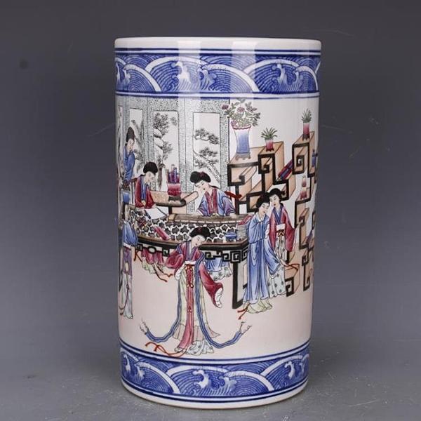 清乾隆青花斗彩人物紋筆筒畫筒仿古老貨瓷器家居中式擺件古玩收藏1入