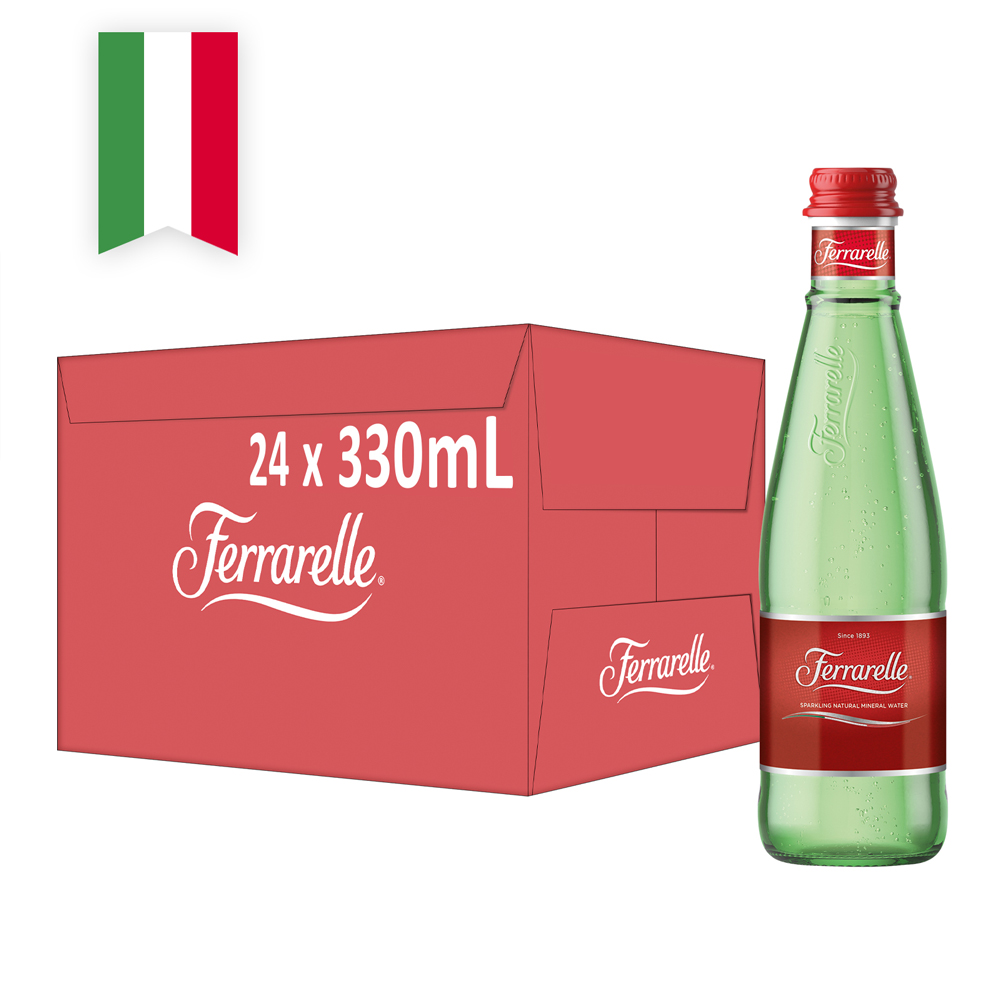 【Ferrarelle 法拉蕊】氣泡天然礦泉水330ml(24入/玻璃瓶)