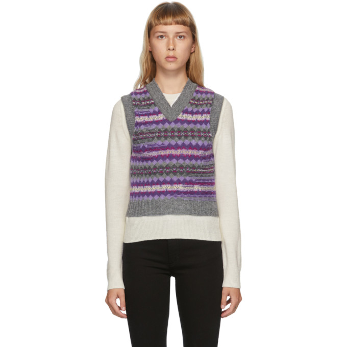 Acne Studios 紫色 and 灰色提花初剪羊毛 V 领马甲