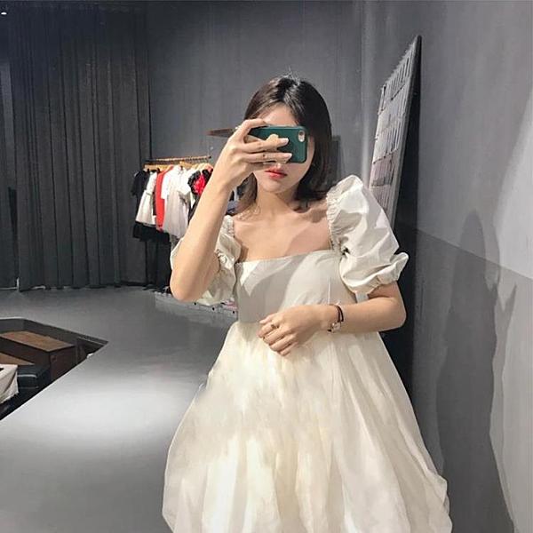 Lolita裙 短款洋裝白色小禮服裙赫本風平時可穿方領泡泡袖連身裙初戀小白裙