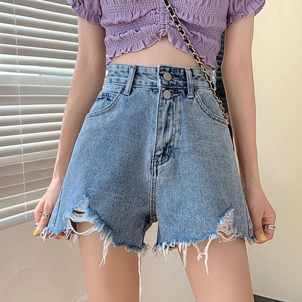 牛仔褲夏季褲子寬鬆高腰破洞牛仔短褲女2020新款熱褲潮『小淇嚴選』