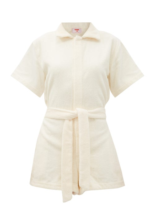 Terry - Il Pareo Belted Cotton-terry Playsuit - Womens - Yellow