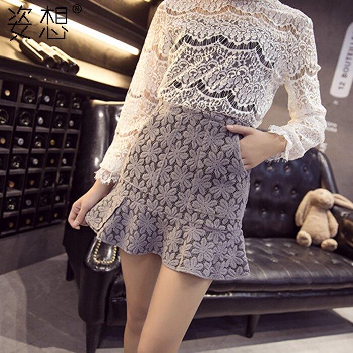 包臀裙 蕾絲短裙春女新款韓版高腰包臀裙chic裙子春季半身裙春秋 概念3C
