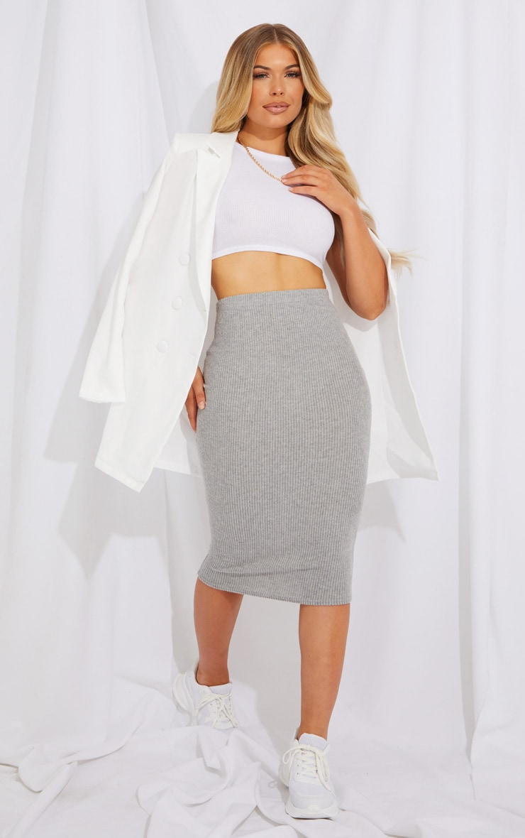 Grey Brushed Rib Midi Skirt