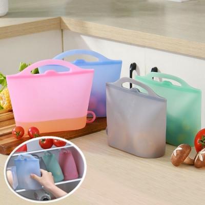 EZlife手提矽膠保鮮袋2入組(顏色隨機)贈可裁剪防油污墊