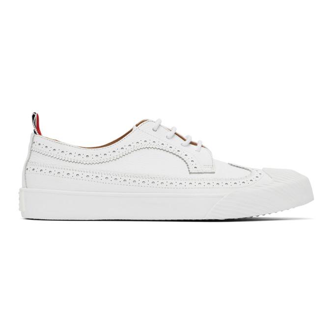 Thom Browne 白色皮革长翼布洛克运动鞋