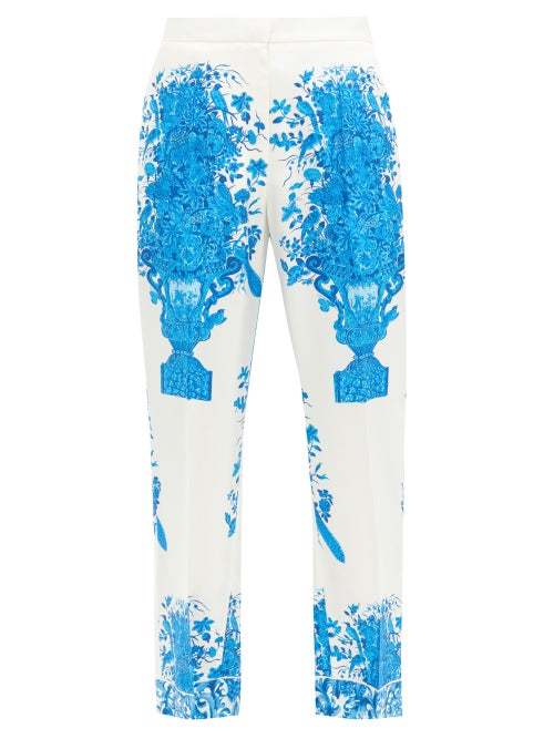 Valentino - Delft-print Silk-twill Trousers - Womens - Blue White