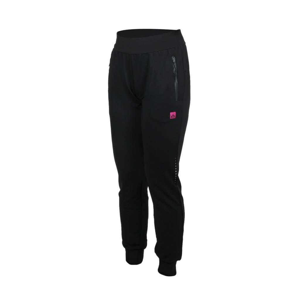 FIRESTAR 女彈性針織束口長褲-吸濕排汗 慢跑 路跑 運動 縮口 黑桃紅