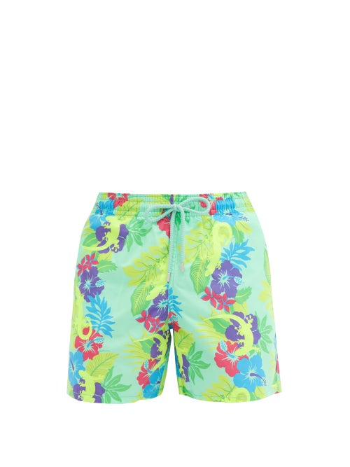 Vilebrequin - Moorea Floral And Gecko-print Swim Shorts - Mens - Green Multi