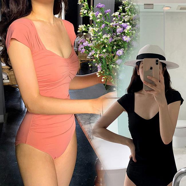 FOFU-連身泳衣韓國遮肚顯瘦小香風純色連身泳衣【03A0540】