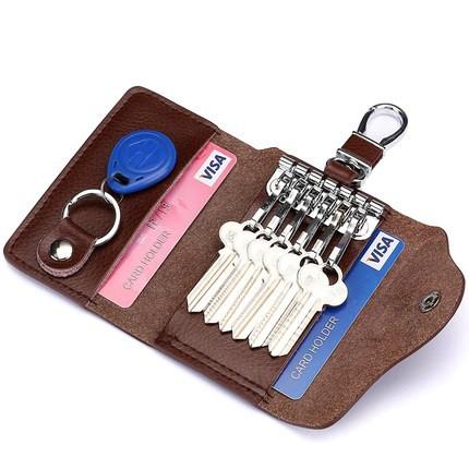 鑰匙包男 正韓鑰匙包男士皮質汽車鑰匙包腰掛皮質多功能拉鍊鎖匙包扣女包包