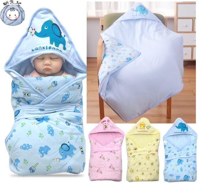 K014夾棉厚包巾 新生兒 抱被 抱巾 嬰兒被 綿被 三角帽 固定帶 厚綿 三層棉 鋪綿 彌月 壓箱 80*80 童衣圓
