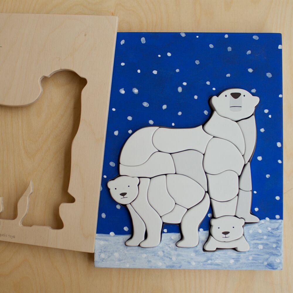 江口設計 Eguchi toys -木製兒童動物拼圖 - 北極熊