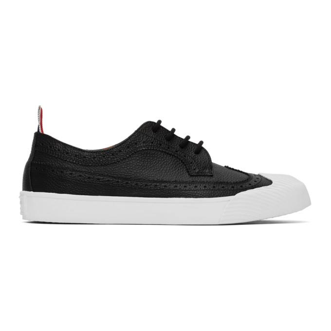 Thom Browne 黑色皮革长翼布洛克运动鞋
