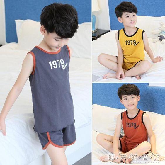 兒童背心睡衣夏天男童無袖家居服8夏季9男孩10純棉12歲15短袖薄款