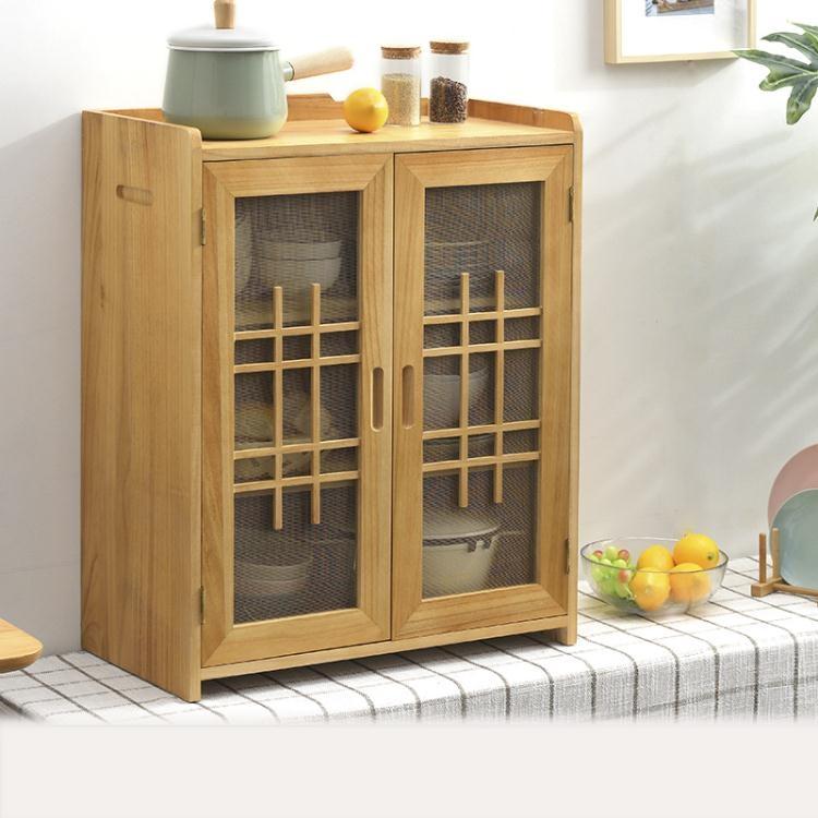 實木小碗櫃廚房碗櫥櫃家用簡易菜櫥櫃餐邊櫃簡約經濟型放碗多功能【99購物節】