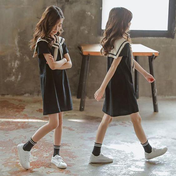 女童夏季新款洋氣裙子海軍風連衣裙女孩童裝兒童中大童公主裙