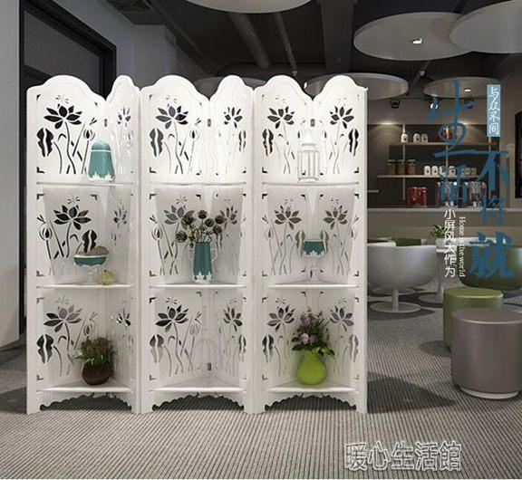 屏風簡約古典荷花臥室屏風隔斷玄關時尚客廳白色雕花折疊置物架折屏全館免運限時優惠