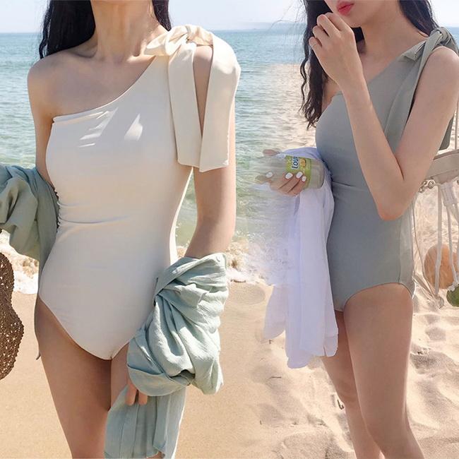 FOFU-連身泳衣韓版單肩系帶遮肚兩件套連身泳衣【03A0545】
