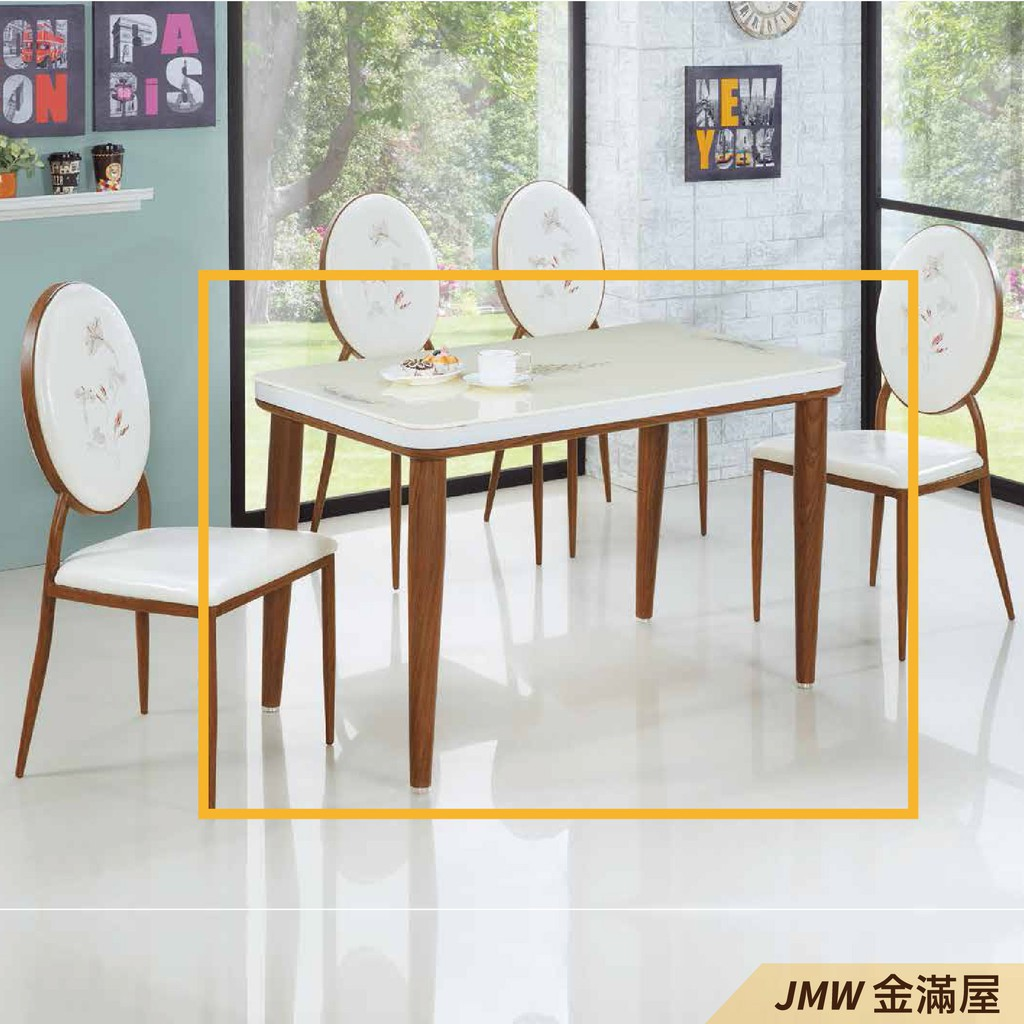 130cm餐桌 長型餐桌組 北歐大理石桌子 圓形桌 方形收納摺疊桌 餐桌椅組【金滿屋】C374-3