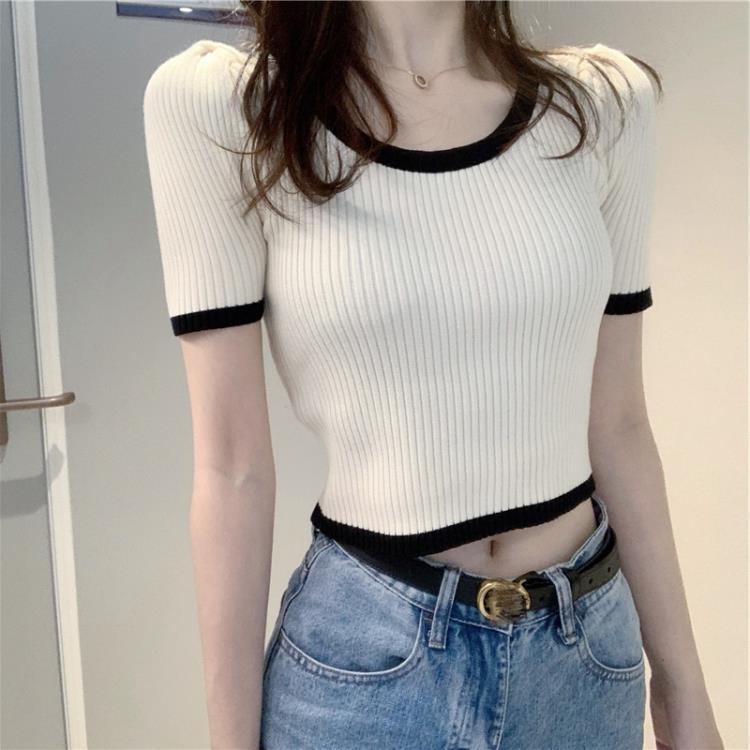 短板T恤 年新款夏季露臍女裝短款高腰上衣網紅短袖t恤女ins潮超火針織 概念3C