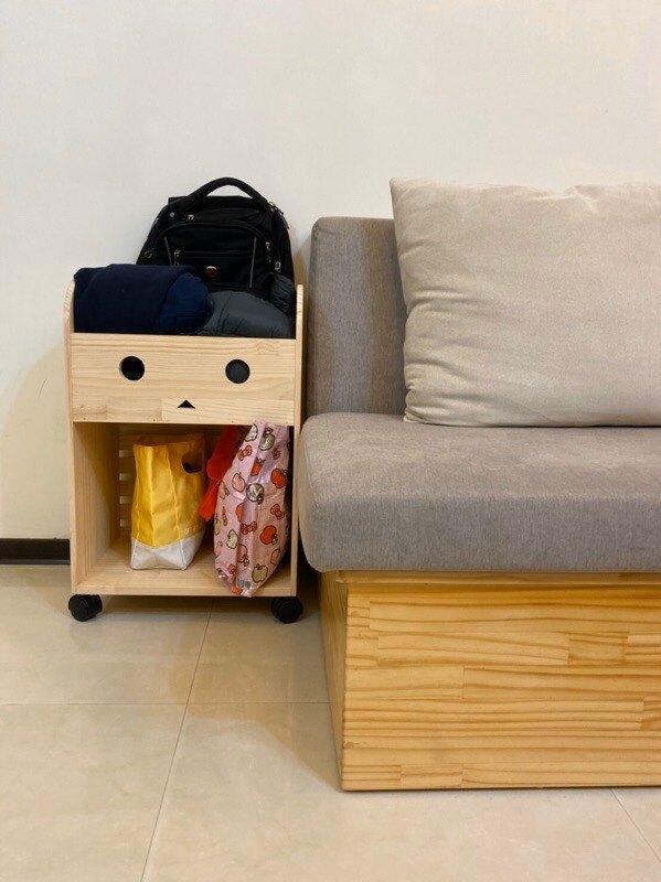 阿愣書包櫃 松木置物櫃 置物推車 收納推車 原木置物櫃