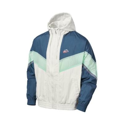 Nike 外套 Windrunner+Jacket 男款 NSW 輕量 無內裡 連帽 尼龍 穿搭 綠 米 CZ0782133