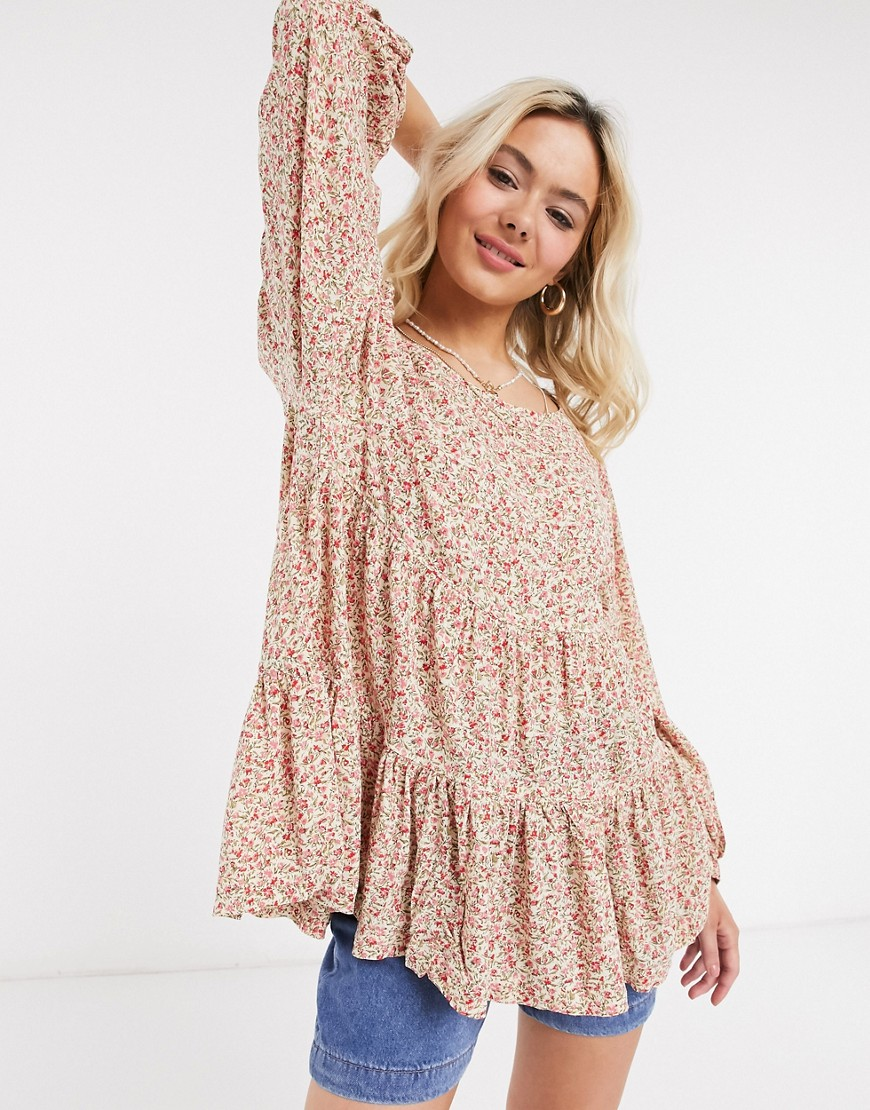 American Eagle spring tunic in floral-Red
