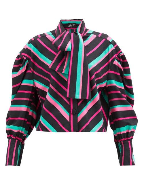 Elzinga - Balloon-sleeve Striped Satin Shirt - Womens - Multi