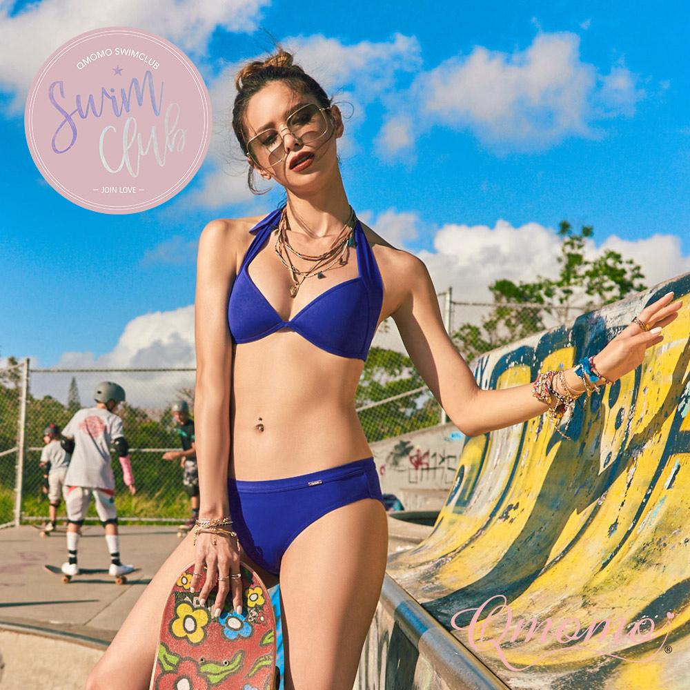 泳裝【焦糖沙灘】包覆美胸比基尼上衣(九字背鉤款_寶藍)