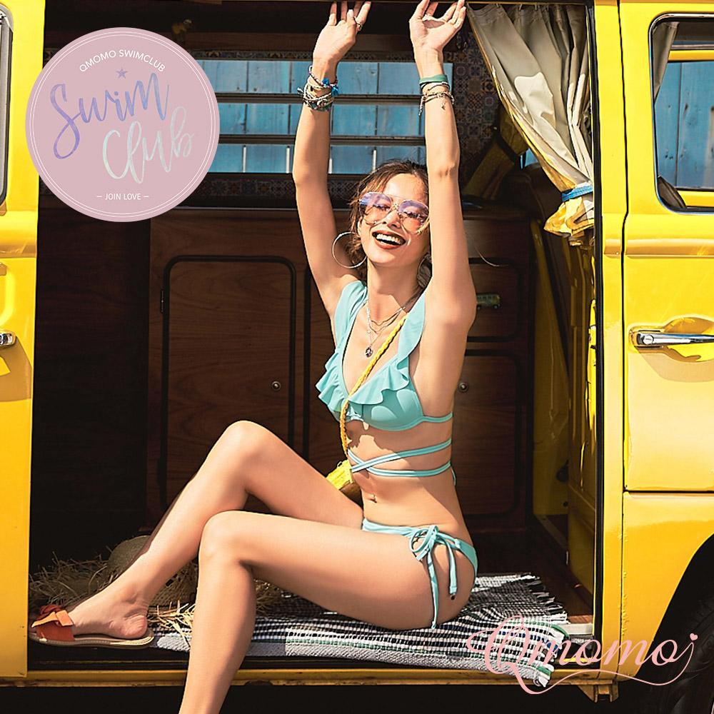 泳裝【萊姆SODA】2 WAY浪漫荷葉綁帶美胸比基尼上衣(水藍)