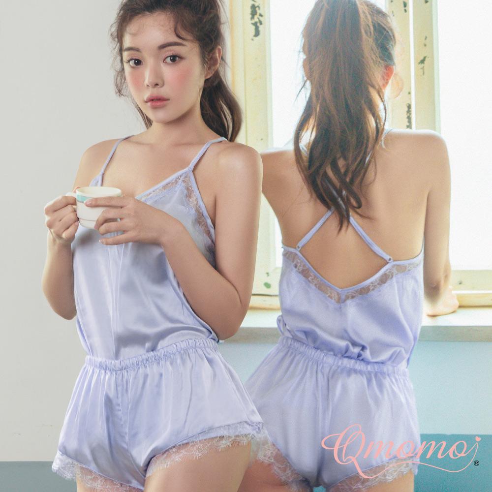 睡衣【超模身段】睫毛蕾絲緞面兩件式家居服  上衣+短褲(藍紫)