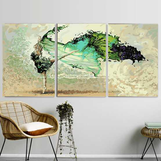 diy數字油畫油彩畫三聯三拼畫手繪填色客廳人物風景花卉裝飾畫