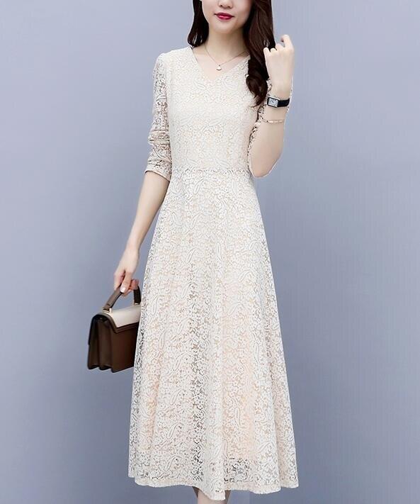 蕾絲長裙 春秋裝溫柔仙女裙初戀法式復古小清新打底蕾絲連衣裙修身長裙 概念3C