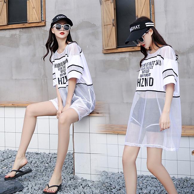 FOFU-分體式泳衣韓版運動風拼接網紗平角短褲分體式泳衣【03A0534】