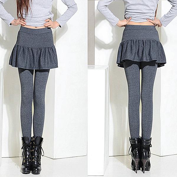 秋季半身裙包臀打底褲假二件褲裙薄款淺灰百褶裙黑色女裙子短裙棉1入