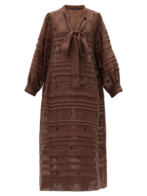 Vita Kin - Constellation Embroidered Linen Midi Dress - Womens - Brown