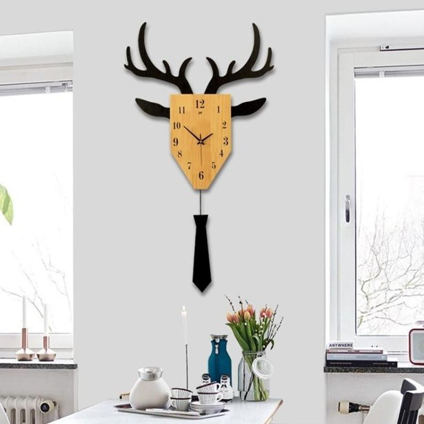 掛鐘 現代簡約客廳創意個性北歐時尚鹿頭掛鐘鐘錶大氣靜音潮流裝飾掛錶全館免運限時優惠