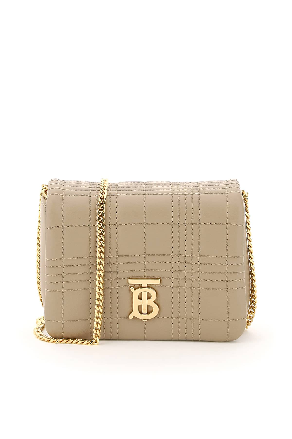 BURBERRY LOLA MICRO BAG WITH CHAIN AND TB OS Beige Leather