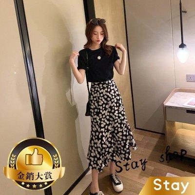 【Stay】韓版小雛菊雪紡高腰顯瘦長裙+短袖上衣套裝 短袖t恤 女裝 顯瘦上衣 衣服 寬鬆上衣 素T【S79】