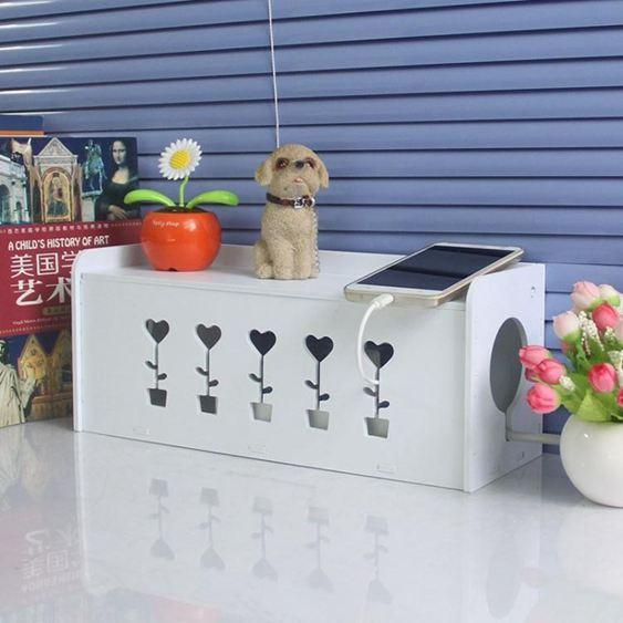 網線電源線遮擋多功能集線插板電線收納盒桌面裝飾插座手機充電線