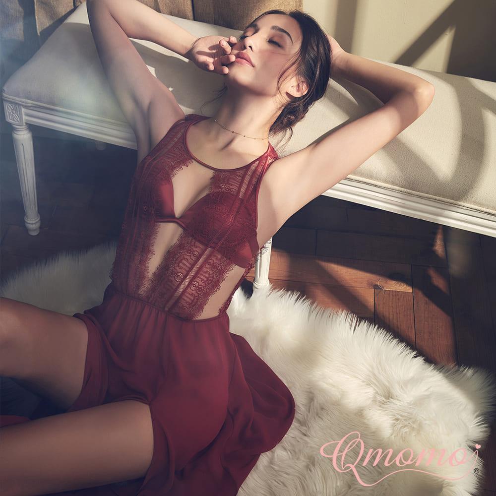 睡衣【費洛蒙氣味】軟鋼圈睫毛蕾絲罩杯式長睡衣(辣磚紅)