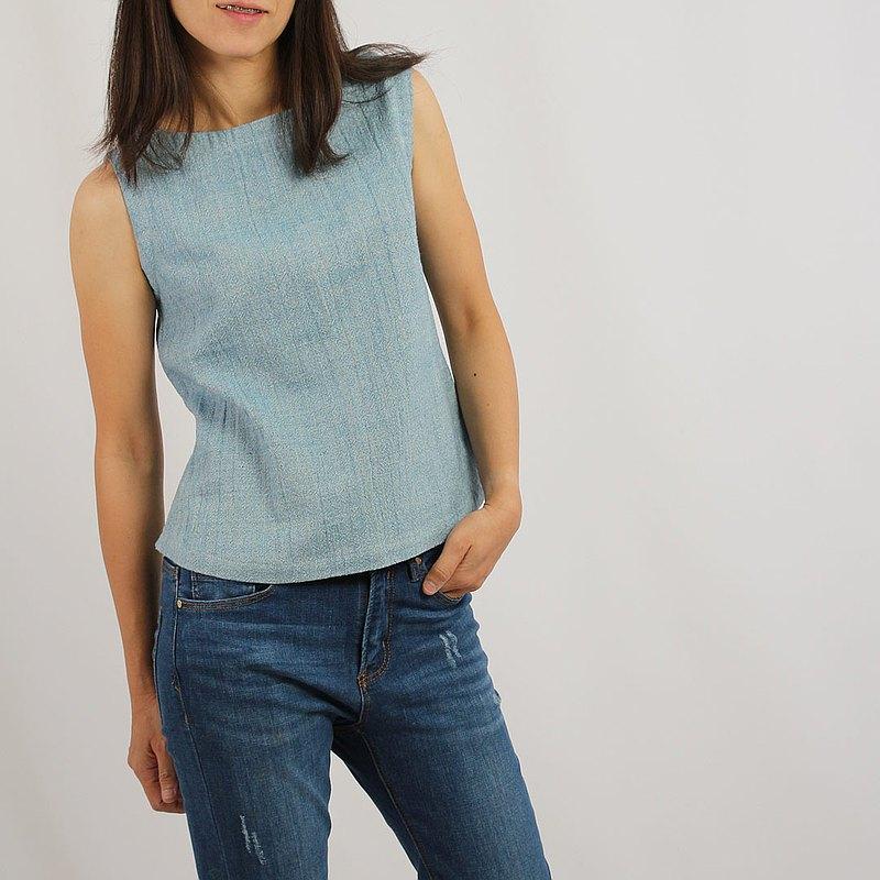 天然染色棉麻船領襯衫,藍色/靛