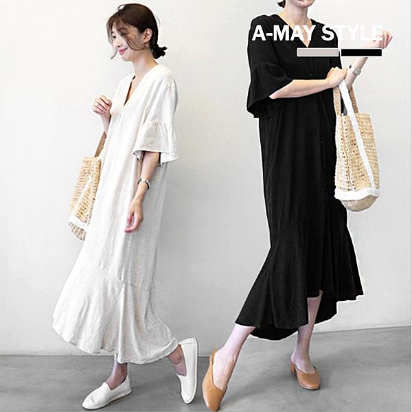 純色V領荷葉裙擺連身裙(S-XL)