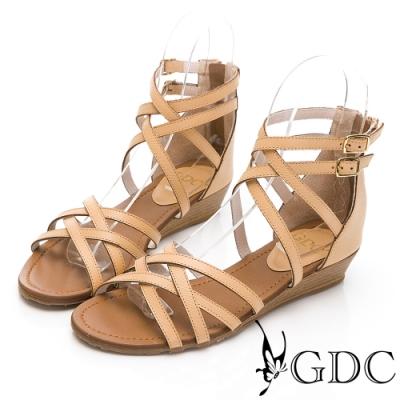 GDC-經典真皮百搭美式羅馬交叉繞踝基本涼鞋-卡其色