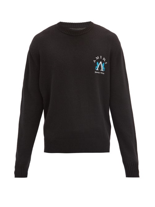 Amiri - Beverly Hills Logo-embroidered Sweater - Mens - Black