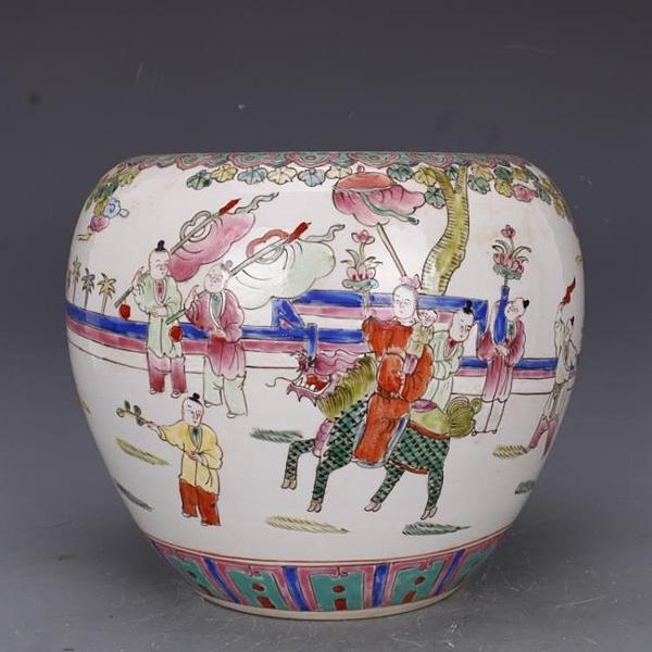 清雍正粉彩麒麟送子蘋果缸水洗手繪仿古老貨瓷器家居中式古玩擺件1入